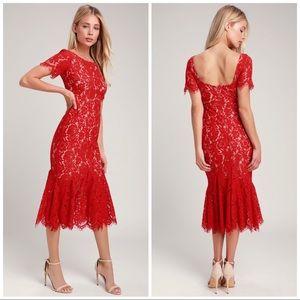 Lulu's Love You Tonight Red Lace Midi Dress NWT XS